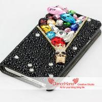 Free Shipping Black Crystal Fashion Rhinestone Metal Skull Head Leather Wallet Flip Case For Samsung Galaxy Note 2 N7100