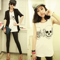 Hot Sell 2014 New Fashion Ladies Clothes Skull Print Vest Woman Skeleton tank Tops  women Sleeveless t-shirt #NS024