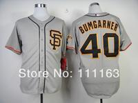 Baseball Jerseys Madison Bumgarner  #40 Gray Road 2 Cool Base Baseball Jersey size:48~56+Mix Order,Free Shipping