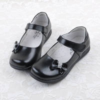 Children shoes female genuine leather child round toe single shoes cos female child formal dress girls shoes