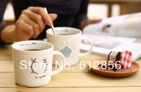 Triangle stripe diamond antlers design Zakka breakfast cup, coffee cup ,ceramic cup time glass mug
