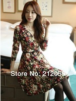 2014 spring high quality  V-neck fancy slim one-piece dress long-sleeve basic bottom one-piece dress female