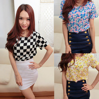 Summer fresh print loose chiffon shirt short-sleeve chiffon top