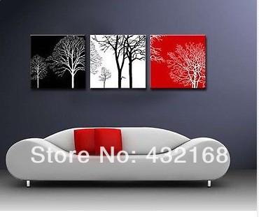 p011 conjunto( 3pcs) pintada à mão pintura a óleo sobre tela galho de árvore( sem moldura)(China (Mainland))