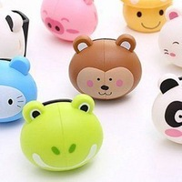 Retail 2079 cartoon animal series automatic plastic suction cup toothbrush holder color