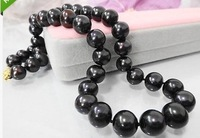 "2014 CLASSIC TAHITIAN 18"" 10-11MM BLACK PEARL NECKLACE 14K GIFT BOX"