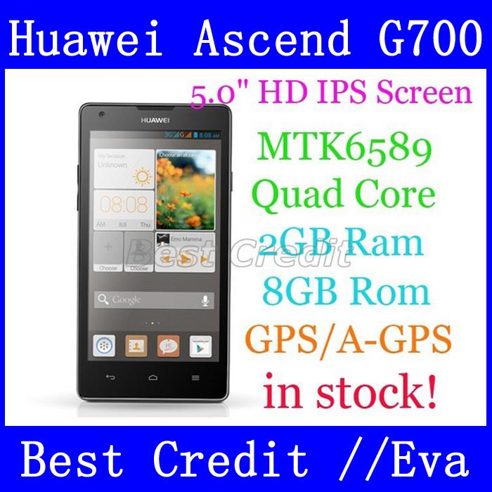 Original HuaWei G700 Ascend 5 inch MTK6589 Quad Core Mobile Phone Android 4.2 2GB RAM 8GB ROM GPS Russian 3G Google Play/Eva(China (Mainland))
