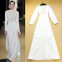 Hot 2014 Runway Fashion  Spring And Summer Women's Noble Elegant White Fairy Cotton Full Dress One-piece Dress F15907