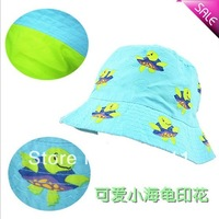 Little girls Bucket Hat with Turtles Children Summer Beach Hat Free shipping 6pcs/lot H421