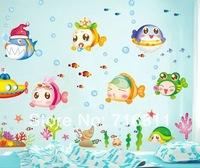 Cheap Cartoon Animal PVC Wall Sticker ,Wall Decal ,Wallpaper, Room Bubble fish sea world living room TV backdrop wall stickers