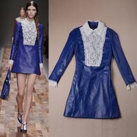 European fashion showing 2014 spring elegant long-sleeve PU patchwork lace slim one-piece dress