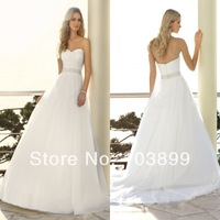 New Design A-line Sweetheart Pleats Beaded Waist Plain Organza Chapel Train Bride Gowns Wedding Dress 2014