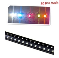 100Pcs 0805SMD SMT Super Bright LED Lamp White Red Blue Yellow Green(each 20pcs)