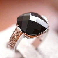 2014 New arrival vintage rings for women the black square agate stone crystal diamond ring crystal jewelry accessories