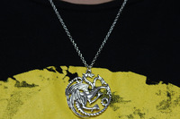 Free shipping wholesale 24 pcs/lot Game of Thrones Targaryen Pendant necklace,Fashion movie dragon necklace,F0457x24