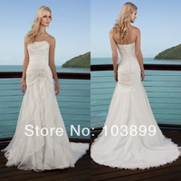 Romantic New Design Strapless Pleats Corset Back Appliques Details Organza Ruffles High Low Wedding Dress 2013