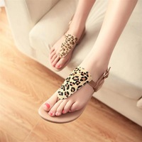 Leopard print 2014 flip-flop flat sandals bohemia sandals strap shoes sandals female