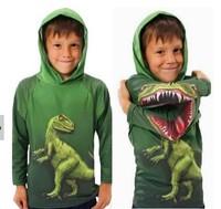 2014 New Children Boy's t shirt 100% Cotton Dinosaur Print Cartoon Hooded Long Sleeve T-shirt Kids Boys tshirt