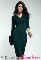 Blue/Green Midi Dress with Wrap in Crepe LC6192 high street 2014