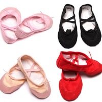 On Sale 1pair/lot Comfortable Breathable Canvas Soft Ballet Dance Shoes Suitable For Children Girl 5 Colors 654189