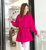 2014 New Korean Women Pure color with Bat long sleeve T-shirt Free Shipping
