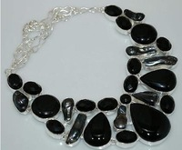 107 GM BEAUTIFUL BRAZILIAN BLACK ONYX, BIWA PEARL .925 STERLING SILVER NECKLACE