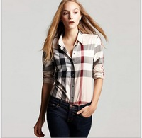 2014 women's fashion plus size plaid shirt female slim 100% cotton long-sleeve shirt