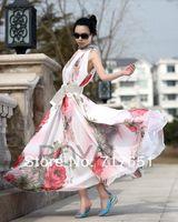 Ladys Full Circle Big Hem Elegant BoHO Lotus Leaf Summer Chiffon Maxi Long Dress