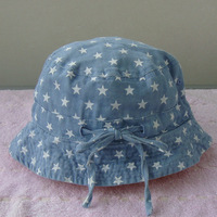 Bonnet medium-large female child hat cotton denim 100% five-pointed star bucket hats sunbonnet