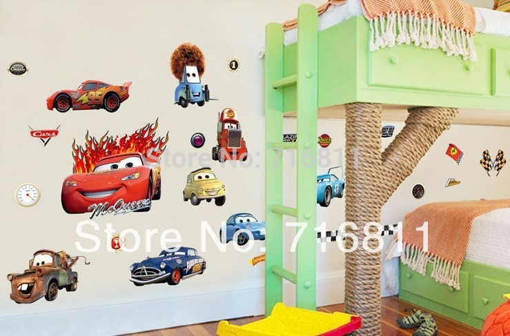 2014 new free shipping Transparent Boy's Bedroom Pixar Cars Wall Stickers Kids Nursery Room Art Decal Decor Sticker(China (Mainland))