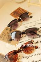 Free Shipping New 2014 Retro Men Round Sunglasses Half Frame Metal Arm Vintage Reflective Sunglasses Women  #WY198