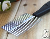 Free Shipping ( China Post Air Mail Only ) Pet Supplies Plastic handle Brush Double-sided comb