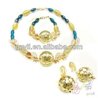 round blue resin besin beads copper ball jewelry set stylish fake yellow gold jewelry set