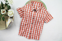 Child summer male female child short-sleeve plaid shirt child 100% cotton shirt
