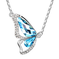 Fashion Crystal Jewelry accessories ocean blue Butterfly design pendant necklace 9618 for Women Gift Free Shipping