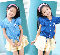 Girls summer clothing 2012 thin denim shirt sleeveless shirt clothing child summer tieclasps top