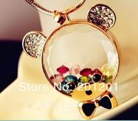 2014 New + Fashion Women Jewelry luxury imitation diamond crystal bear design long necklace 4112 for girl gift Free shipping