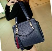 women messenger bags plaid bags casual vintage bag one shoulder tassel handbag women's handbag