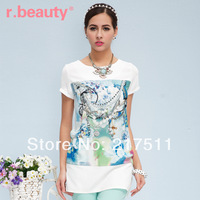 Free Shipping New 2014 Cute Girl Tops Fashion Elegant Print Short Sleeve Korean Summer O-neck Mid -Long Women T-shirts r14A2300