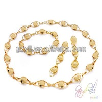 18k geniune gold plated 3pcs jewelry set zinc alloy round beads linked necklace jewelry set