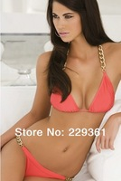 2014 New Sexy Swimsuit Womens Golden Chain Swimwear Halter Padded Bra Pink Bikini for Lady Plus Size Free Shipping bkn07