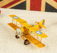 High quality Metal crafts Wrought iron ornaments trumpet vintage airplane model fighter biplane crafts Free shipping