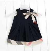 Free shipping Baby girl dresses England plaid sleeveless summer dress sashes baby girls dress little princess khaki pink red