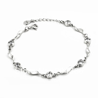 GNS0141 Wholesale Zircon Bracelets Genuine 925 Sterling silver white crystal beads Bracelet Jewelry for women free shipping