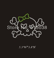 DHL Free shipping 50pcs/Lot Skull bones wholesale iron on rhinestone applique