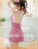2014 new arrival Lace transparent bathrobe for Women sexy V-neck bathrobe female dressing nightgown with panties free shipping