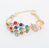 2014 New style colorful diamond peacock family  bracelet cxt96852