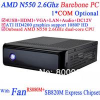 Barebone Mini PC Computer ITX with ATI HD4200 integrated graphics RS880M SB820M Express AMD N550 2.6Ghz HTPC Mini PCs