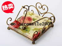 Wrought iron table napkin rack pumping paper towel box paper towel holder bronze color