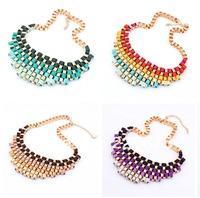 Fashion Vintage Retro Chunky Bib Collar Choker Fashion Statement Chains Necklace Trendy Wholesale Jewelry 8 Colors